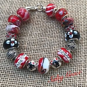 Jewelry - Mickey loves Minnie red and black charm bracelet